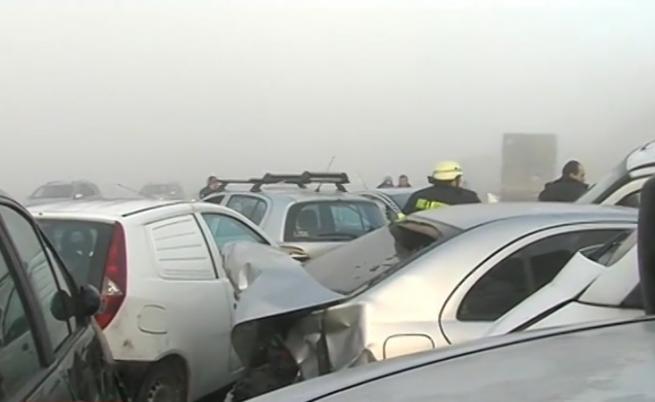 Страшна верижна катастрофа край Сандански, пострадали