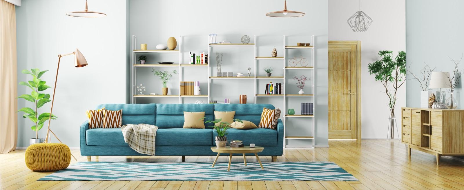 Различните по цвят и текстура мебели придават свежест и колоритност на помещението.