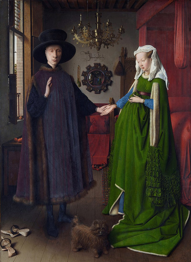 """""""Arnolfini Portrait"""" на Ян ван Ейк<br /> Впечатляващо произведение на изкуството, прие което може би не сте забелязали, че в огледалото в стаята има перфектно нарисувано отражение на художника, рисуващ двойката."""