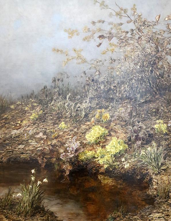 Олга Визингер-Флориан Австрия Пейзаж с пролетни цветя, 1893г.