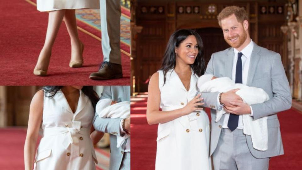 Видение в бяло: Меган Маркъл показа бебето си в рокля на Givenchy