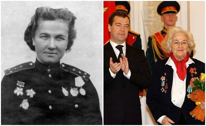 Надежда Попова - изпълнила 852 мисии, като най-много за една нощ е извършила 18. На снимката вдясно - Надежда Попова през 2009 г. с президента Медведев