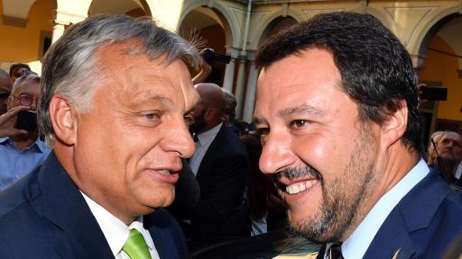 На снимката: Виктор Орбан и Матео Салвини