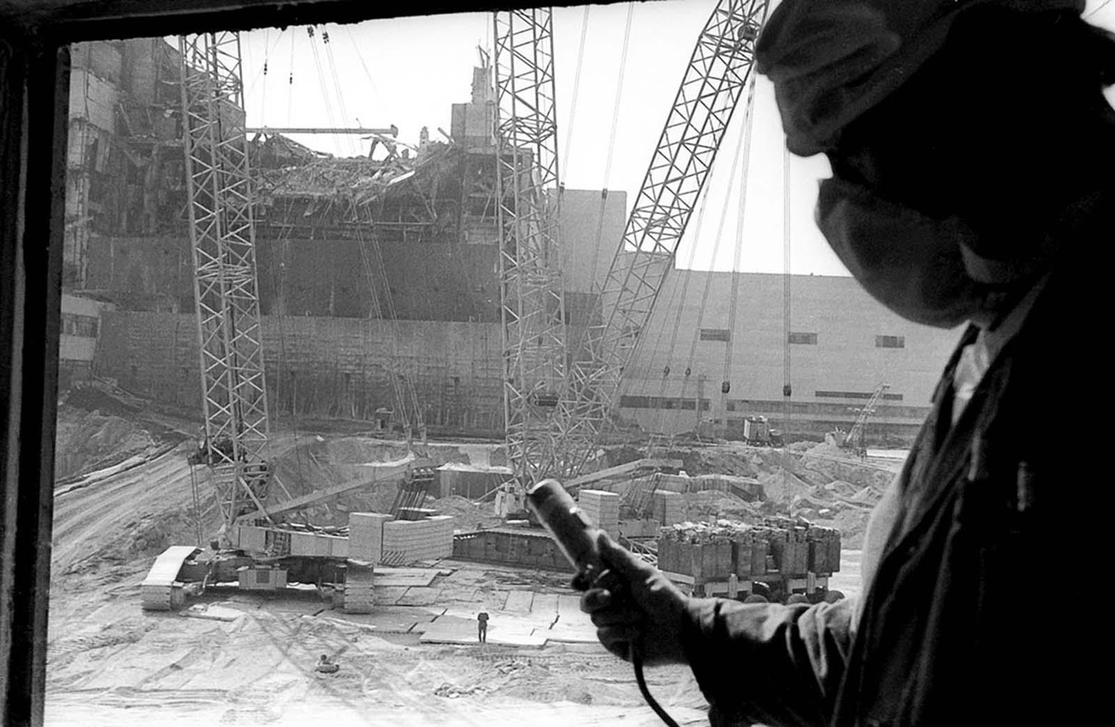 Измерване на радиацията на Чернобил след аварията.