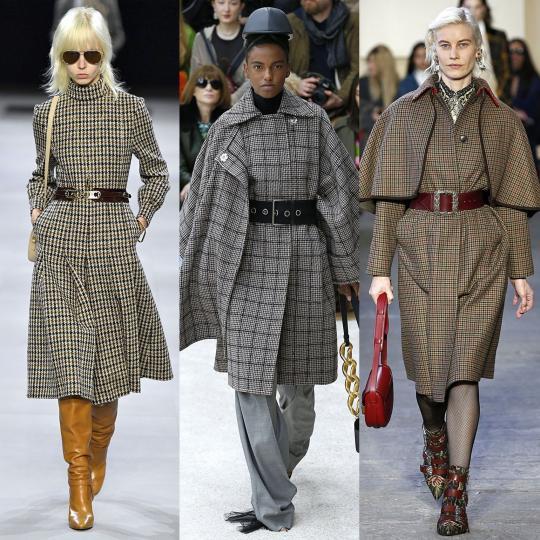 <p><b>Туид</b><br /> Луксозният вълнен плат със специфичен принт, запазена марка на Chanel, е водещ тренд. Намираме го в новите колекции на повечето известни модни брандове. Палта, поли, рокли, аксесоари, всичко може да е създадено от туид.<br /> <br /> <i>Celine, JW Anderson, Etro</i></p>