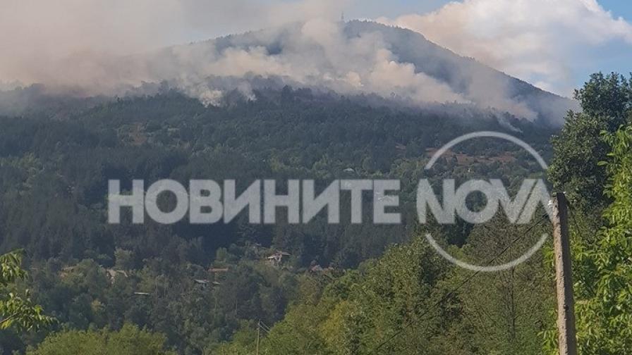 Пожар край софийското село Реброво, има опасност за населението