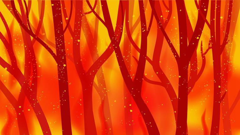гора пожар