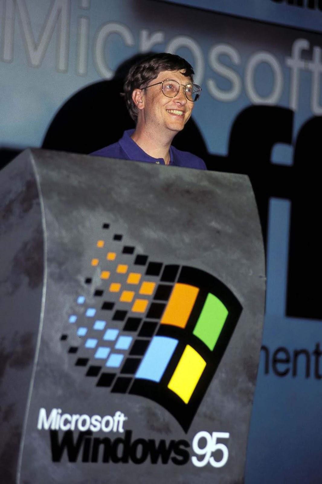 <p>Бил Гейтс представя Windows 95 в Мадрид, Испания.</p>