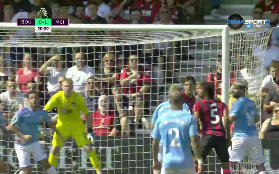 Манчестър Сити води с 2:1 на Борнемут след първото полувреме