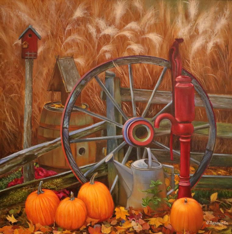 """Eсен в стария двор  Изложбата може да бъде посетена до 22-и септември, в галерия """"Адора"""", ул. """"Ами Буе"""" 10."""