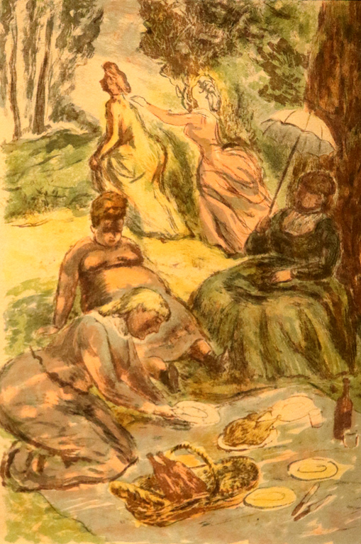 <p>Луис Бертхом Сент Андре, Франция. Пикник, цветна литография</p>