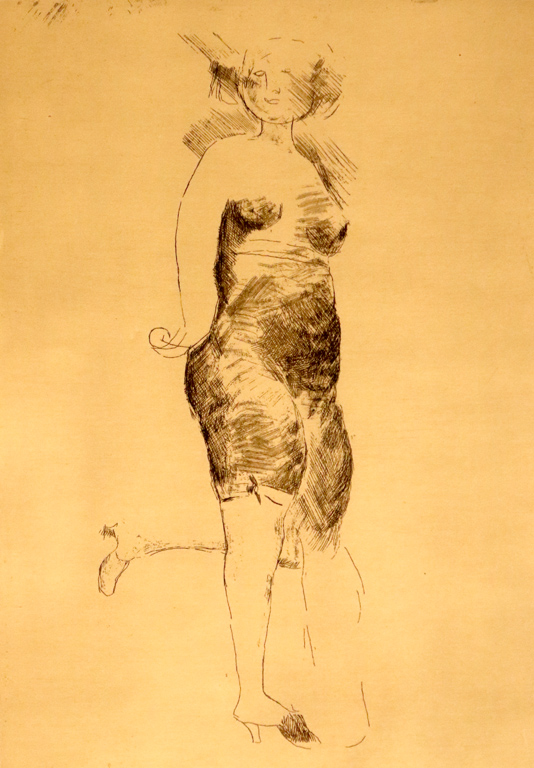 <p>Марино Марини, Италия. Женска фигура, офорт</p>