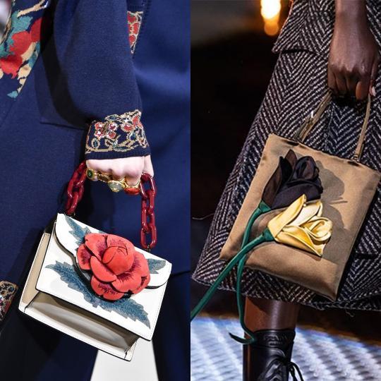 <p><strong>3D цветя</strong>&nbsp;- И най-скучната чанта става интересна с триизмерно цвете върху нея. А моделите, при които цветето излиза от рамките на самата чанта, са още по-впечатляващи.</p>  <p><em>Oscar de la Renta, Prada</em></p>