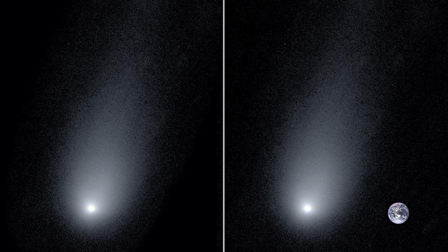 Кометата 2l/Borisov, дясната снимка е колаж, като Земята е използвана, за да се покаже мащабът на кометата спрямо нея