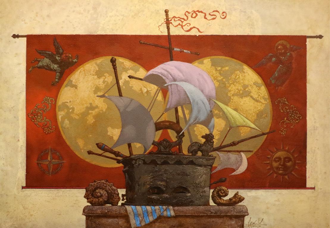 <p>Валентин Ангелов &bdquo;Далечно плаване&ldquo; масл. бои/фазер</p>