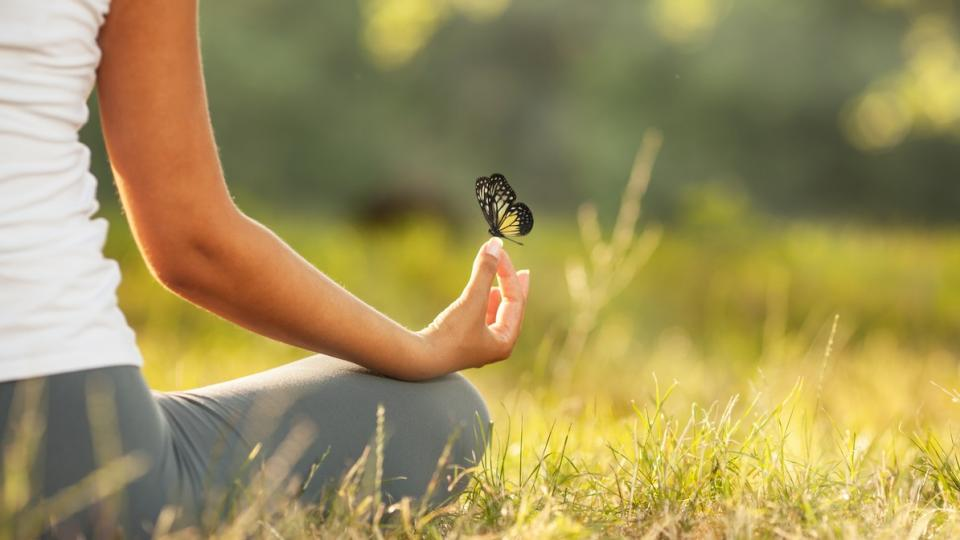 жена природа пеперуда медитация йога мир спокойствие