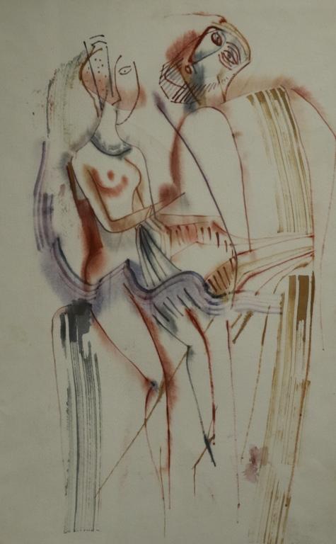 <p>Димитър Казаков &ndash; Нерон</p>  <p>Влюбени 80-те г. на ХХ в. акварел, картон</p>