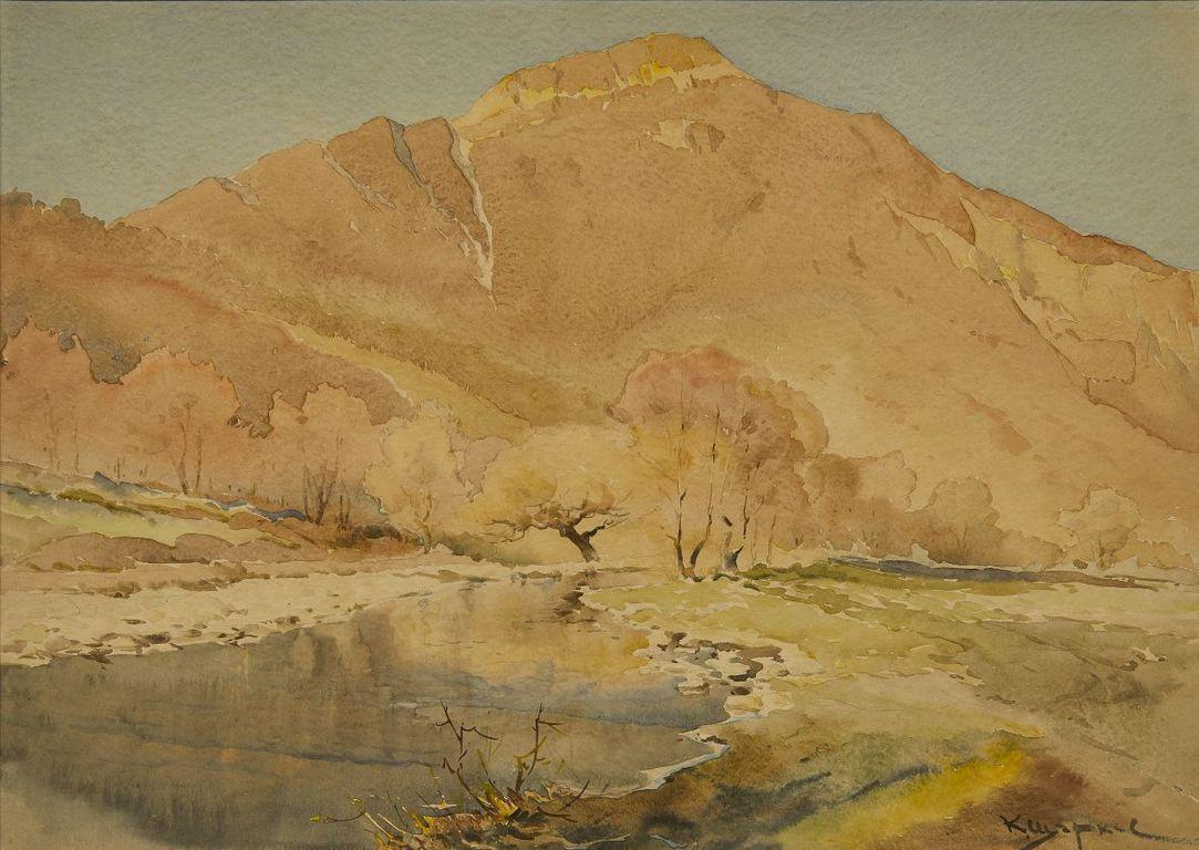 <p>Константин Щъркелов (1889&ndash;1961) Пейзаж (Тетевенски балкан), 30-те години на ХХ в. акварел върху картон</p>