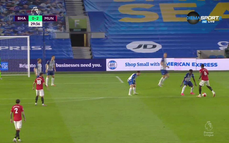 Шут, рикошет и Бруно удвои за Ман Юнайтед срещу Брайтън