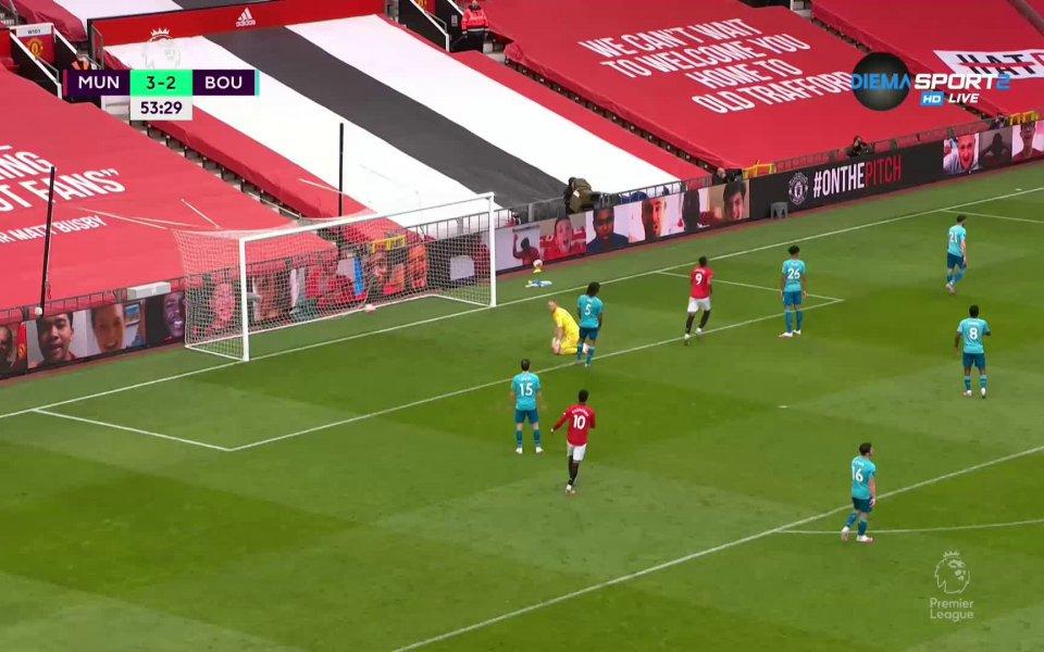 Манчестър Юнайтед направи резултата 4:2 в мача с Борнемут, Гринууд