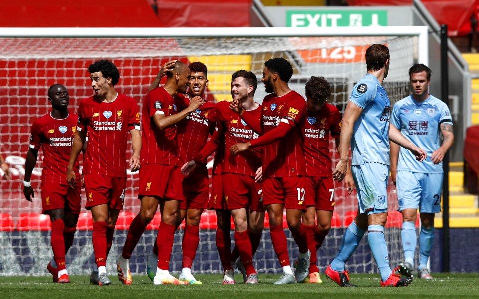 Отборите на Ливърпул и Бърнли играят при резултат 1:0 в
