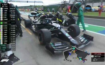 Брутално! Люис спечели ГП на Великобритания със спукана гума (видео + снимки)
