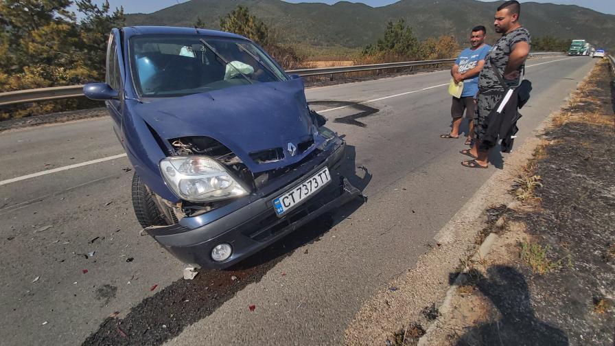 Пожар предизвика верижна катастрофа на пътя София – Бургас
