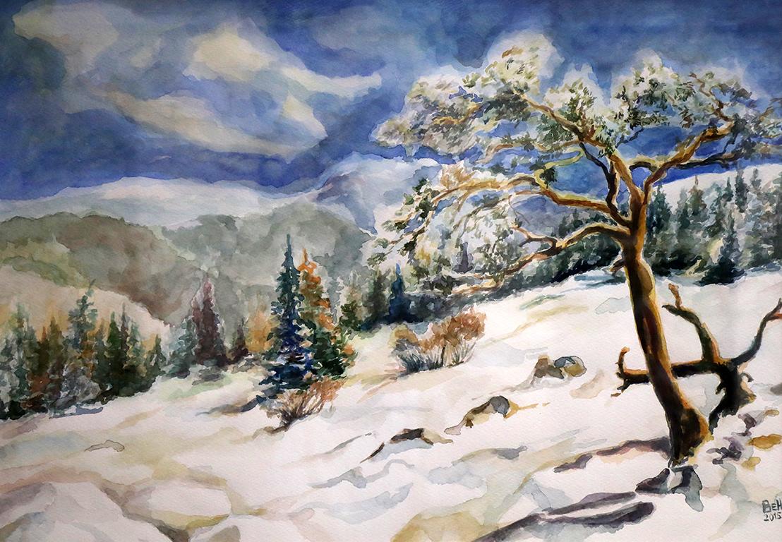 <p>Зимен ден на Витоша /акварел/</p>
