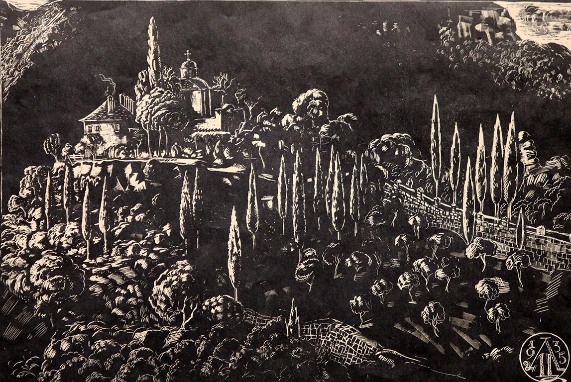 <p>Цанко Лавренов (1896-1978),&nbsp; Католиконът &quot;Св. Георги&quot; на манастира Зограф в Света гора, 1935 г. репродукция от кредов картон</p>  <p>&nbsp;</p>