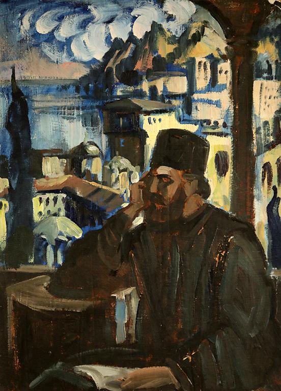 <p>Борис Денев (1883-1969), Отец Паисий в Хилендарския манастир, 1936 г., маслени бои, картон</p>