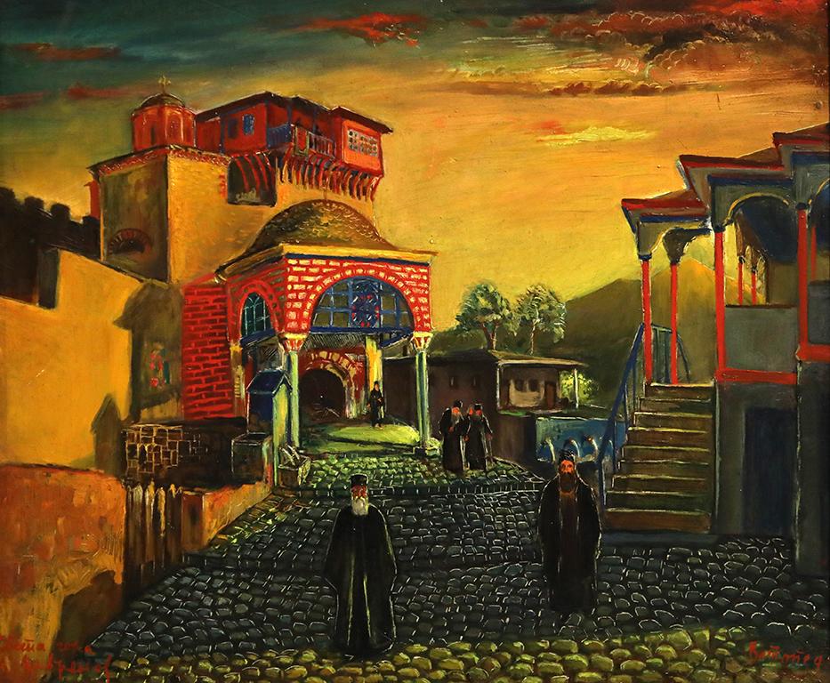<p>Цанко Лавренов (1896-1978), Входната врата на манастира Ватопед в Света гора, 1941 г., маслени бои, платно, шперплат</p>