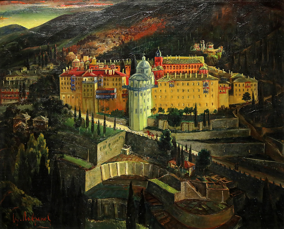 <p>Цанко Лавренов (1896-1978), Манастира Зограф в Света гора, 1936 г., маслени бои, платно, шперплат</p>