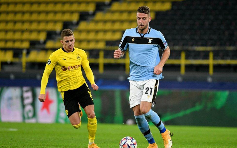 Борусия Дортмунд и Лацио завършиха при резултат 1:1 в мача