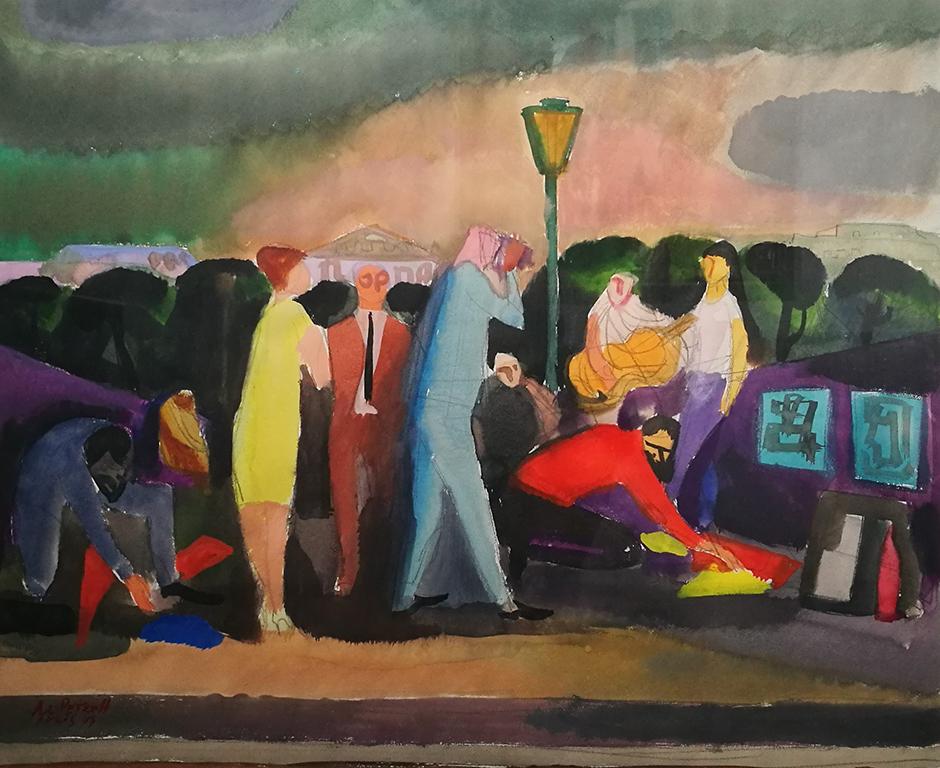 <p>Александър Петров, Моста на изкуствата, акварел/хартия</p>