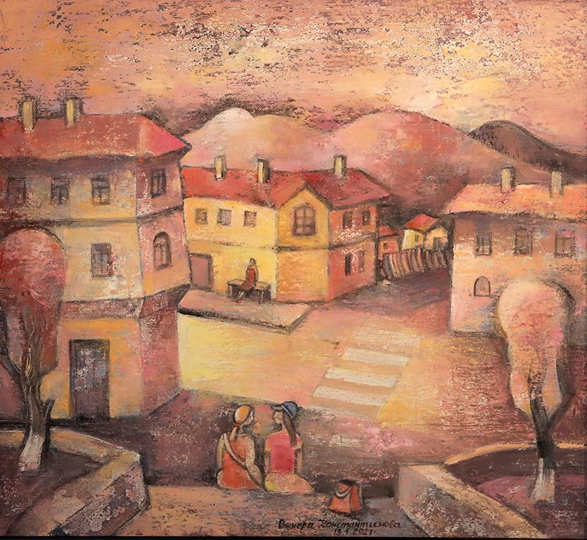 <p>В много изложби в различни галерии у нас и в чужбина съм показавала картини, където е отразена и интерпретирана самобитната красота на Копривщица, Банско, Боженци, Пловдив, Мелник и др.</p>
