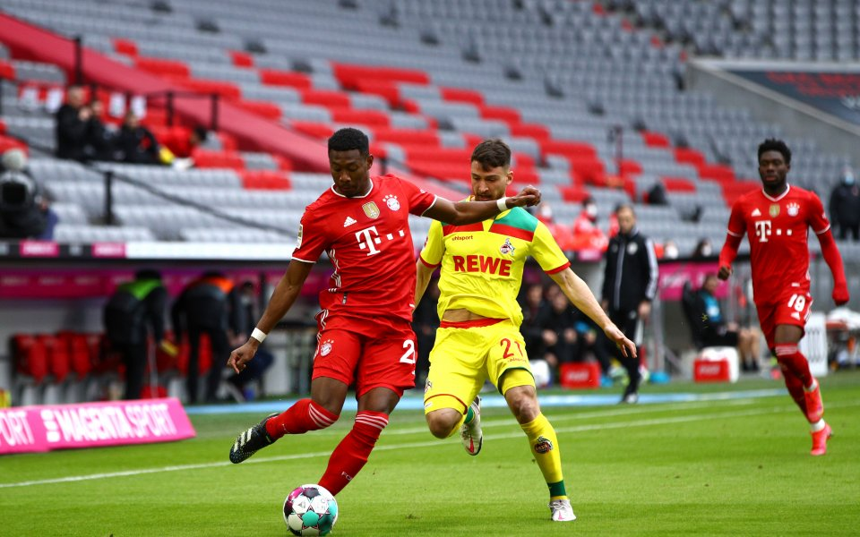 Байерн Мюнхен и Кьолн играят при 1:0 в мач от