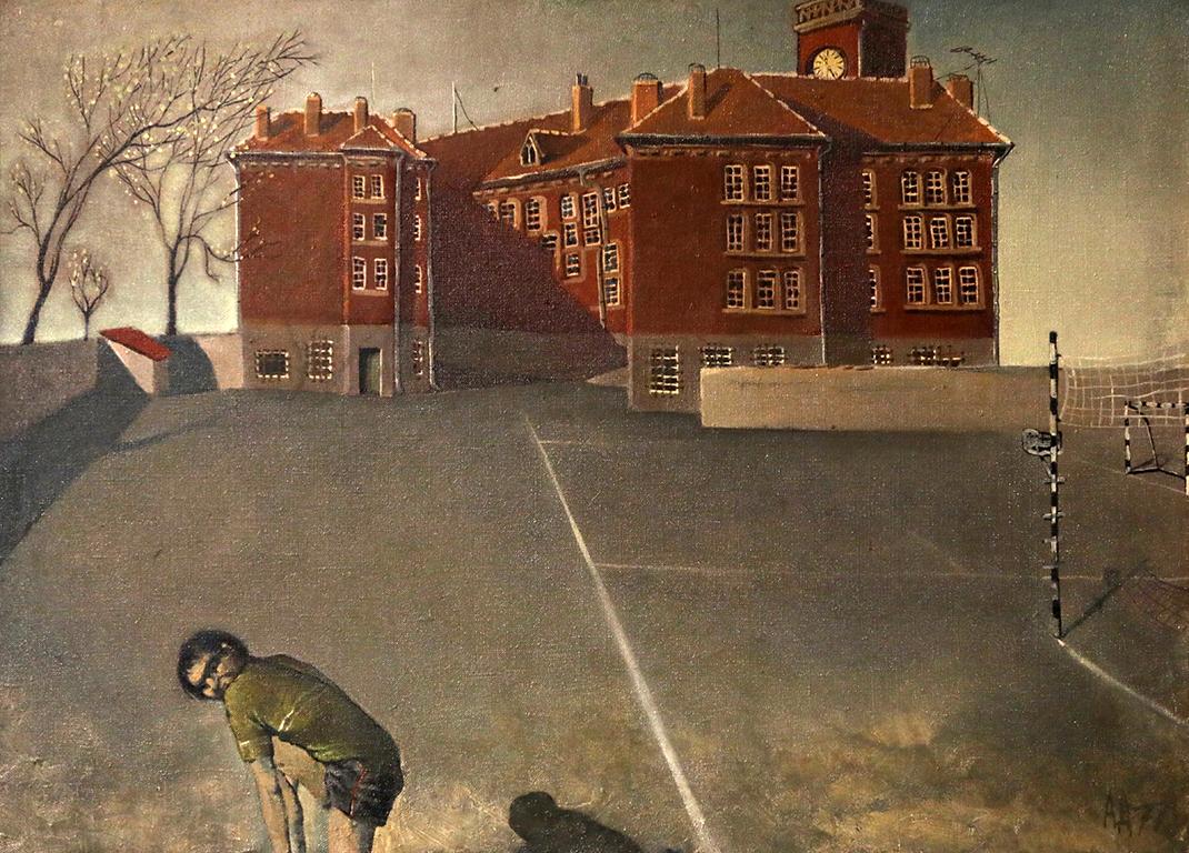 <p>Дворът на икономическия техникум, 1977 г.</p>