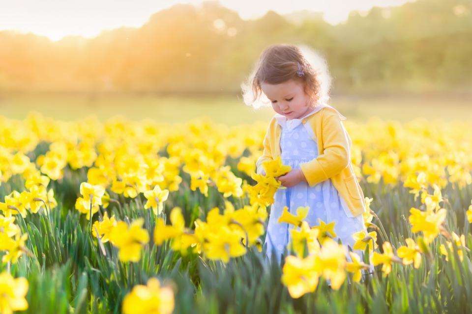 дете момиче пролет цветя
