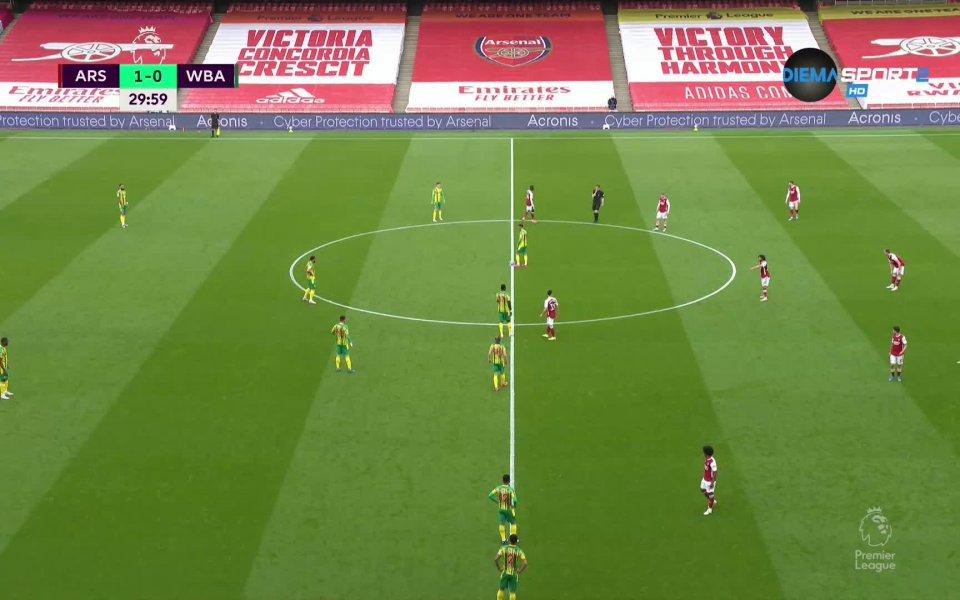 Вижте най-интересните моменти от първото полувреме на мача между Арсенал