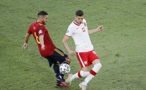 ГЛЕДАЙТЕ НА ЖИВО: Испания - Полша 1:0, гол на Мората, греда за Полша
