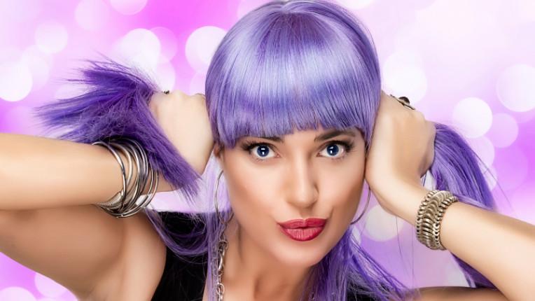 грим лилава коса ланци