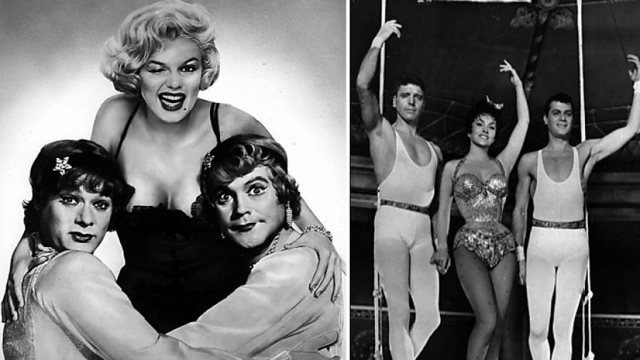 """Рекрламна снимка за """"Някои го предпочитат горещо"""" (л) и кадър от """"Трапецът"""" (1956) - Тони Къртис (д), Джина ЛолоБриджида и Бърт Ланкастър"""