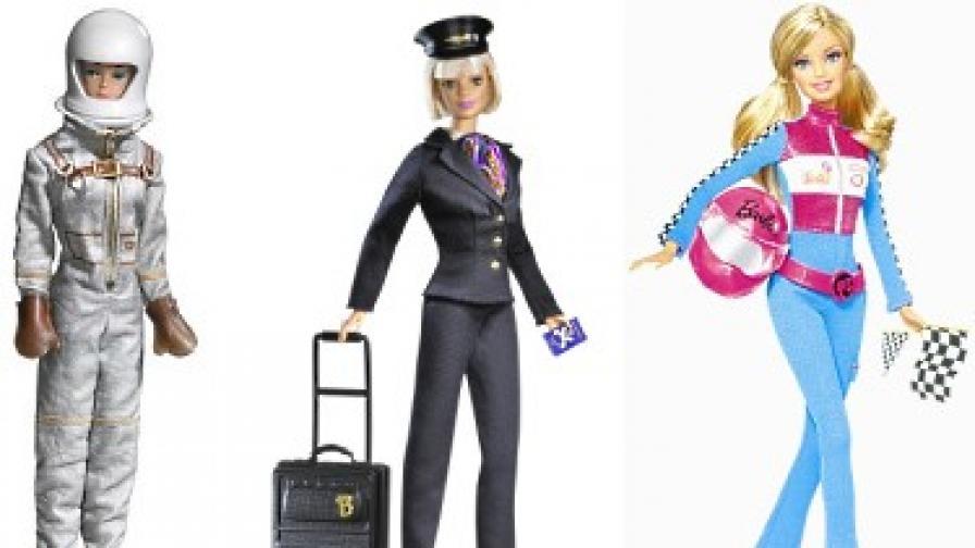 Барби: астронавт (1965 г.), пилот (1999 г.) и автомобилна състезателка (2010 г.)