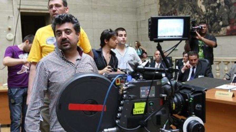 """Димитър Митовски на снимачната площадка на филма """"Мисия Лондон"""""""