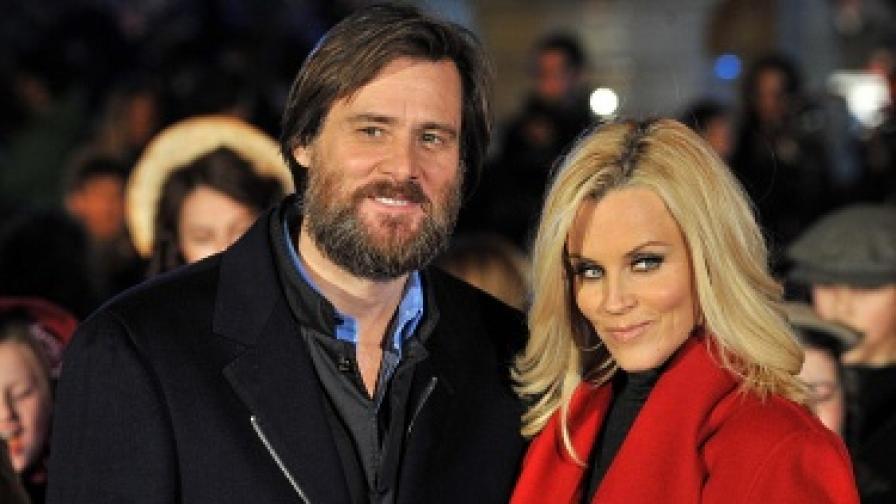 """Джим Кери и Джени Макарти на премиерата на филма """"Коледна песен"""" в Лондон през ноември 2009 г."""