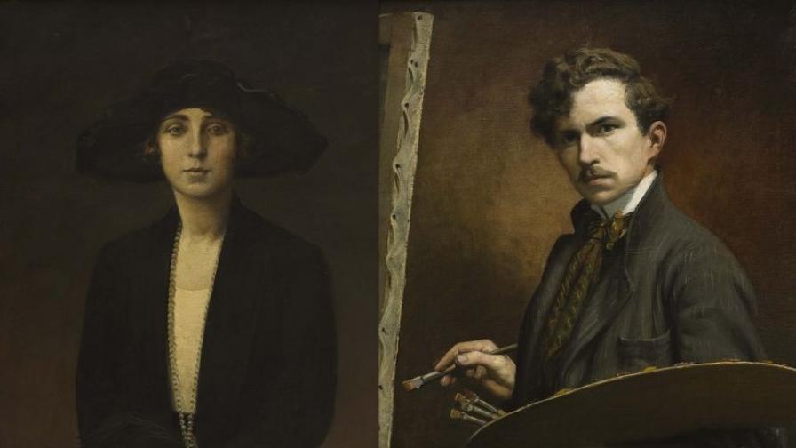 Петър Морозов. Автопортрет, 1903; Портрет на Цвета Морозова, 1920