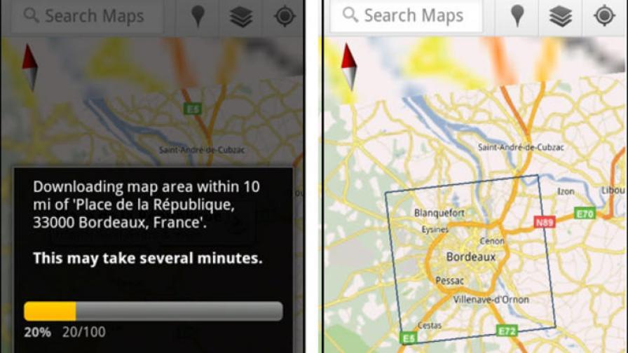 Google Maps с функция за даунлоуд на карти