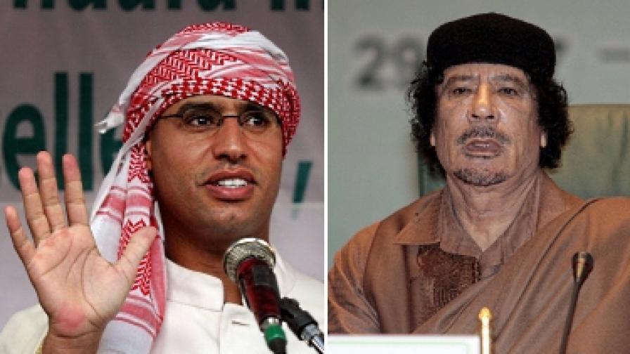 Сейф ал Ислам (вляво) и Муамар Кадафи