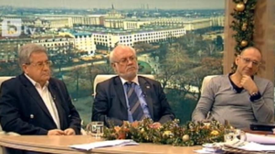 В студиото на Би Ти Ви: (отляво) Иван Гранитски, д-р Константин Тренчев, Любен Дилов-сино