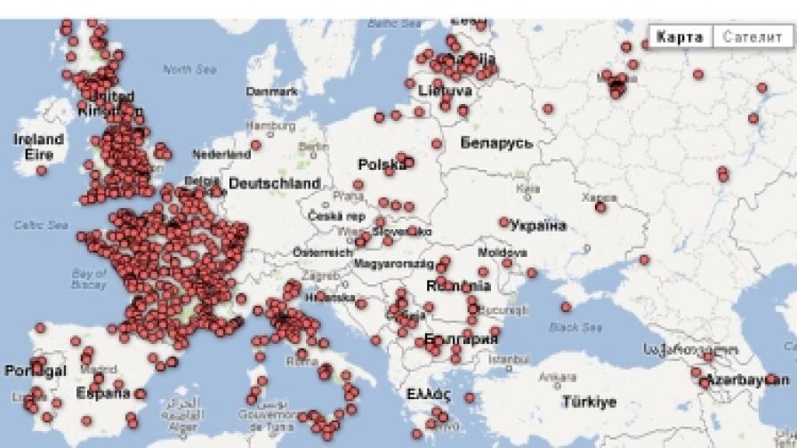 Карта на Нощта на музеите на 19 май 2012 г. от nuitdesmusees.culture.fr